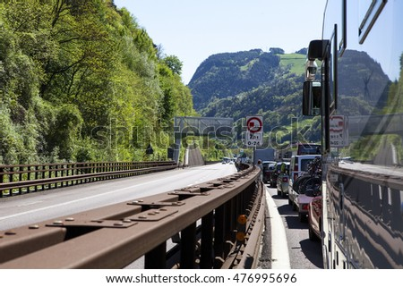 BRENNER PASS, AUSTRIA - APRIL 20, 2016: traffic jam in the Brenner highway (Austria - Italy), one the most important transit routes between Northern and Southern Europe on April 20, 2016.