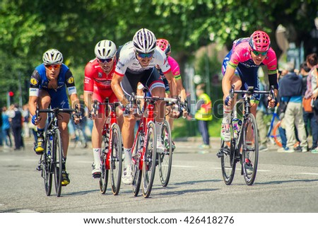 """Brescia, Italy - May 25,2016: Sprint in partial finish in 17th stage of the """"Giro d'Italia"""" - stock photo"""