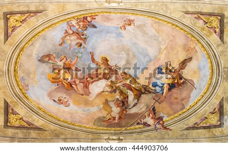 BRESCIA, ITALY - MAY 23, 2016: The Apotheosis of St. John the Baptist fresco on the vault in Sant'Afra church by Sante Cattaneo (18. cent.)