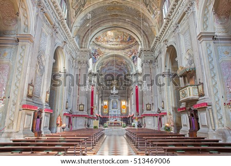 BRESCIA, ITALY - MAY 23, 2016: The nave of Sant'Afra church.
