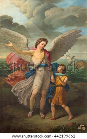 BRESCIA, ITALY - MAY 21, 2016: The painting of Archangel Raphael and Tobias in church Chiesa di San Zeno al Foro by unknown artist of 19. cent.