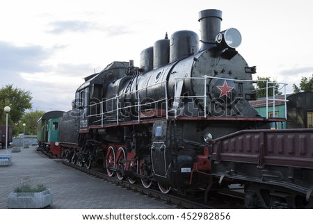 Brest, Belarus, 06 July 2016: Locomotive in the Brest museum of railway equipment.