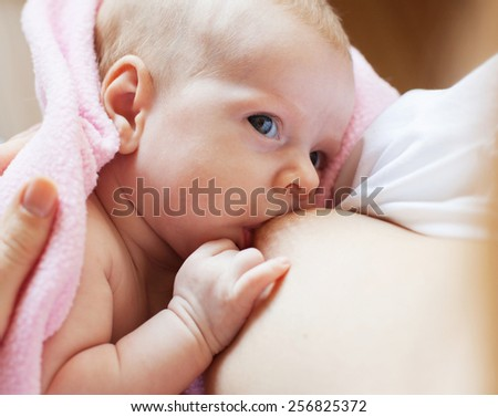 Brestfeeding. Mother with newborn at home. - stock photo