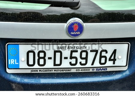BRETAGNE, FRANCE., JULY 29, 2009: logo of saab automobile - stock photo
