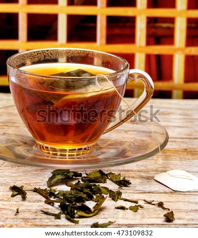 Brewed Green Tea Representing Break Time And Beverage