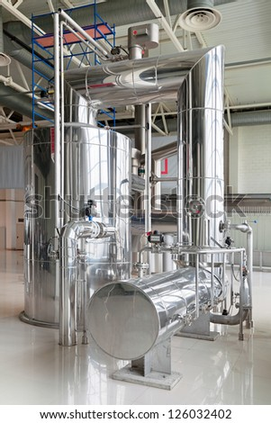 Brewing production - brewhouse, vacuum-evaporator, the interior of the brewery, nobody - stock photo