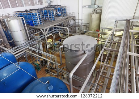 Brewing production - department for preparation of the water, filters - stock photo