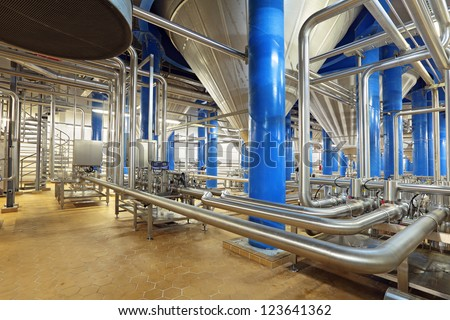 Brewing production - fermentation department - stock photo