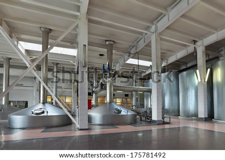 Brewing production - mash vats, the interior of the brewery, nobody - stock photo