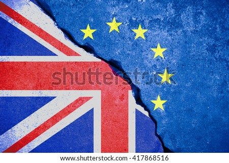 brexit blue european union EU flag on broken wall and half great britain flag, vote for united kingdom exit concept - stock photo