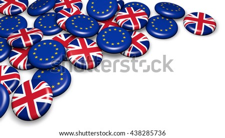 Brexit British referendum financial concept with EU and UK flag on badges 3D illustration with copyspace.