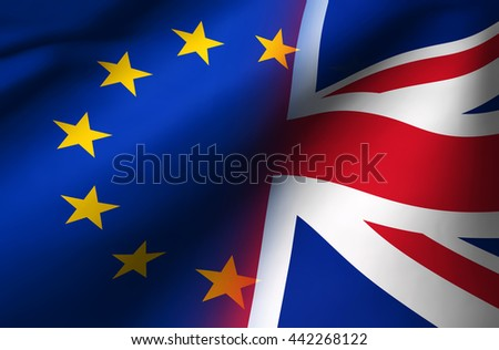 Brexit British referendum UK background concept with Union Jack fading with EU flag 3D illustration.