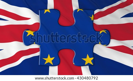 Brexit Concept - EU Puzle piece on UK Flag - 3D Illustration