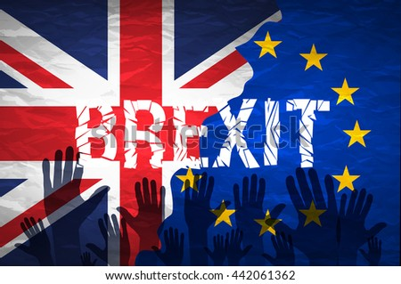Brexit cracks Text Isolated. United Kingdom exit from europe relative image. Brexit named politic process. Referendum theme art - stock photo