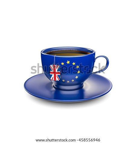 Brexit cup of tea / 3D illustration of EU teacup with UK flag tea bag label