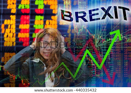 Brexit in stock chart - stock photo