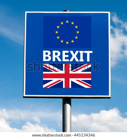 Brexit on road sign on sky  - stock photo