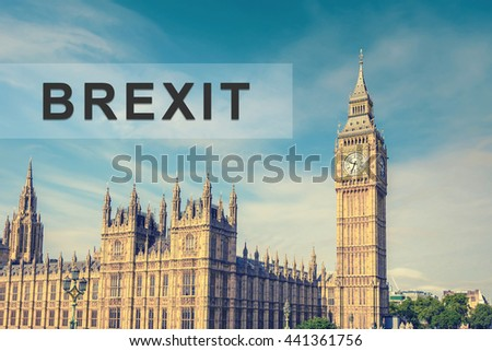 brexit or british exit with Big Ben Clock Tower and House of Parliament, London, England, UK, vintage style effect - stock photo