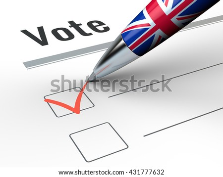 Brexit - Pen With Great Britain flag and vote checkbox. 3d render - stock photo