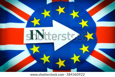 Brexit UK EU referendum concept with flags and in message - stock photo