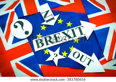 Brexit UK EU referendum concept with flags and topical messages - stock photo
