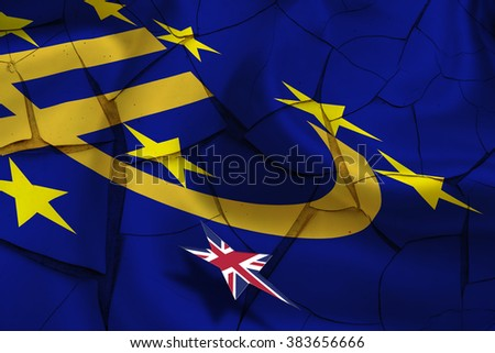 Brexit : Wavy flag of Euro currency symbol with 12 yellow (gold) stars on cracked paint wall while a small star flag of UK hovers over it. A symbol of uncertainty in the EU during UK's referendum. - stock photo