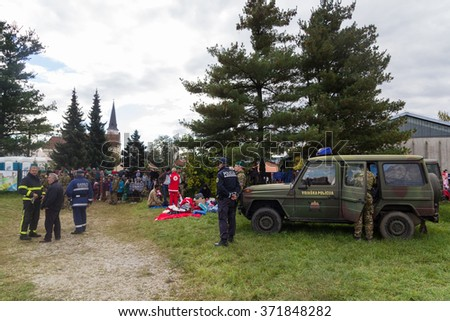 BREZICE, SLOVENIA: OCTOBER 28, 2015: Immigrants and refugees from Middle East and North Africa at Brezice camp.
