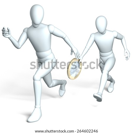 Bribe money handed over - Two running figures handing over one euro coin standing for bribe money, 3d rendering on white background - stock photo