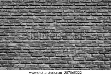 Brick background and texture in black and white - stock photo