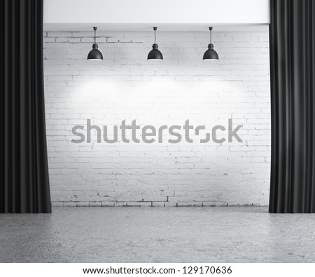 brick concrete room, presentation background - stock photo