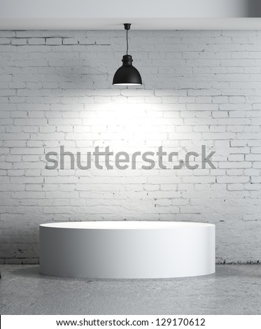brick concrete room with box  presentation - stock photo