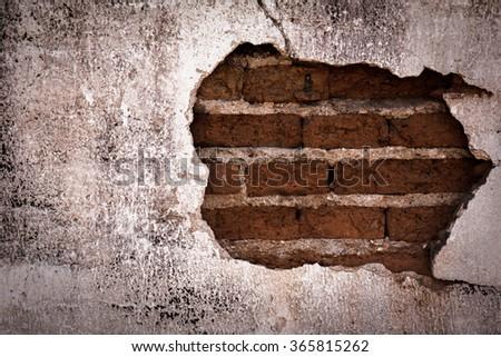 Brick,concrete weathered grunge wall background - stock photo