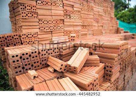 Brick construction home  - stock photo