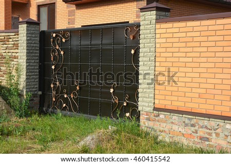 brick fence with gate of modern style design decorative brick wall surface with cement metal - Brick Wall Fence Designs