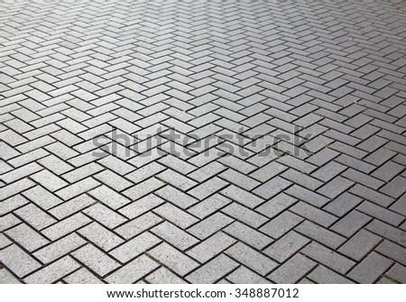 Brick floor with reflection - stock photo
