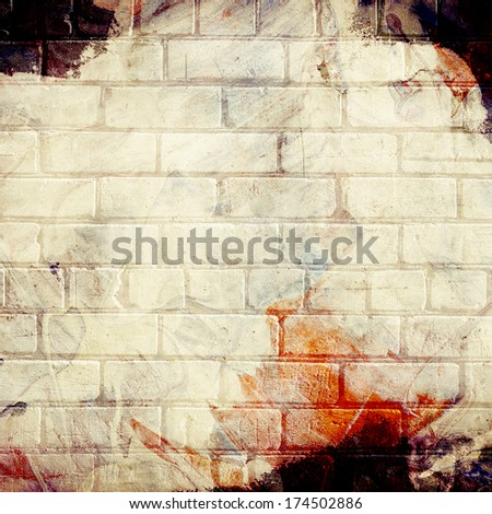 Brick grunge painted wall background - stock photo