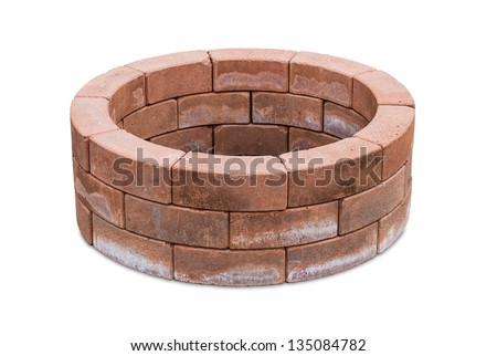 Brick laid in a circle  isolated on a white background