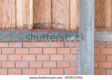 brick of building construction house - stock photo