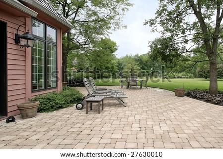 Brick patio - stock photo
