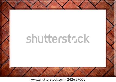 Brick picture frame isolated on white background - stock photo