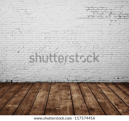 brick room and wooden floor - stock photo