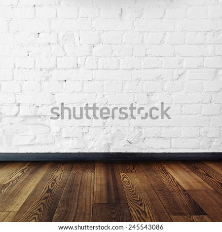 brick room and wooden floor,room interior vintage with white brick wall and wood floor background - stock photo