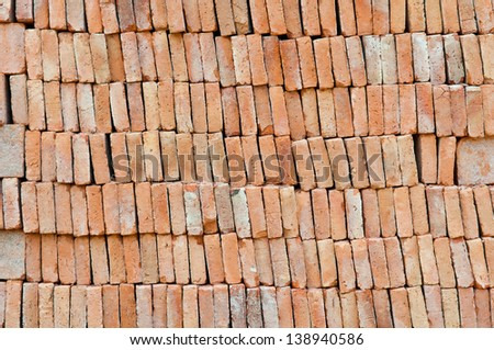 Brick stack, construction material background