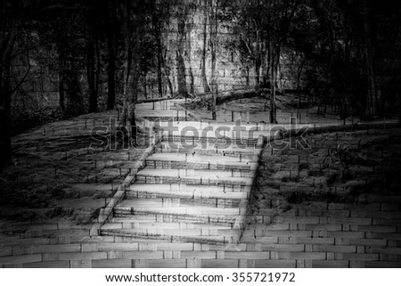 brick stair in forest in dramatic tone screen on surface of woven from bamboo