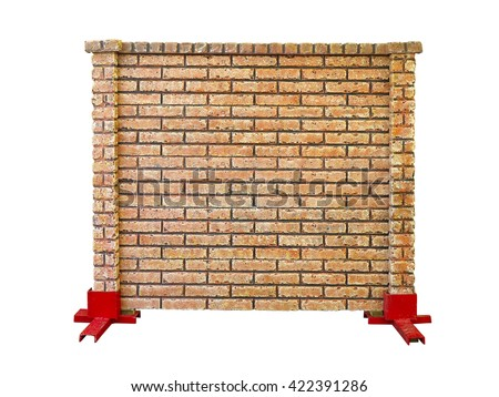 brick stone prefabricated fence section isolated over white background - stock photo