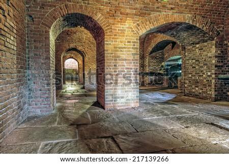 Brick Underground Artillery Tunnel - stock photo