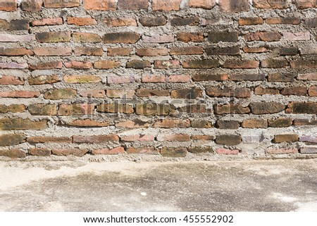 brick wall and concrete floor, abstract background, display image