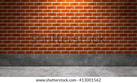 Brick wall and concrete floor with lighting