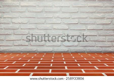 brick wall and  floor room texture - stock photo