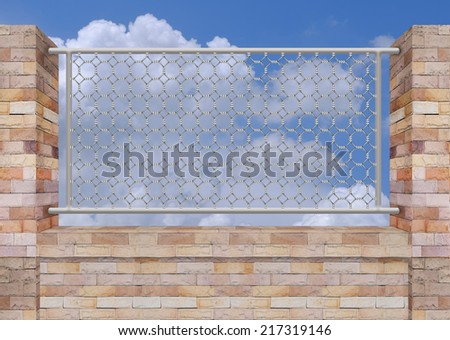 Brick Wall and Iron fence on Top - stock photo